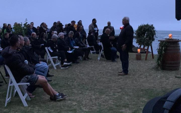 People gathered for a dawn service to mark one year since the eruption on Whakaari.