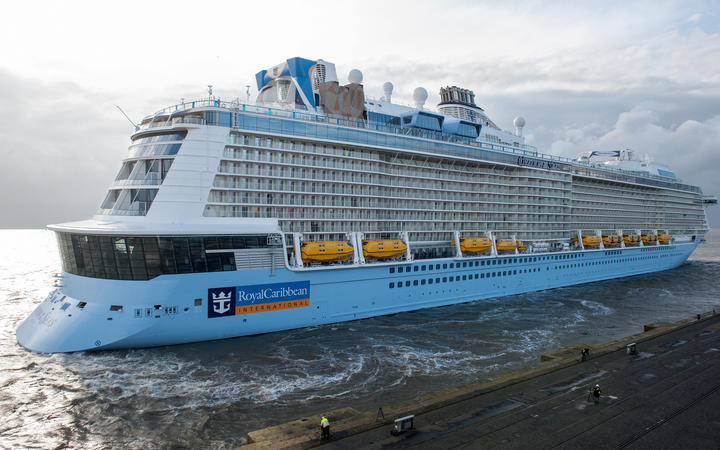 Royal Caribbean's 'Ovation of the Seas' arriving in bremerhaven, Germany, 28 March 2016.