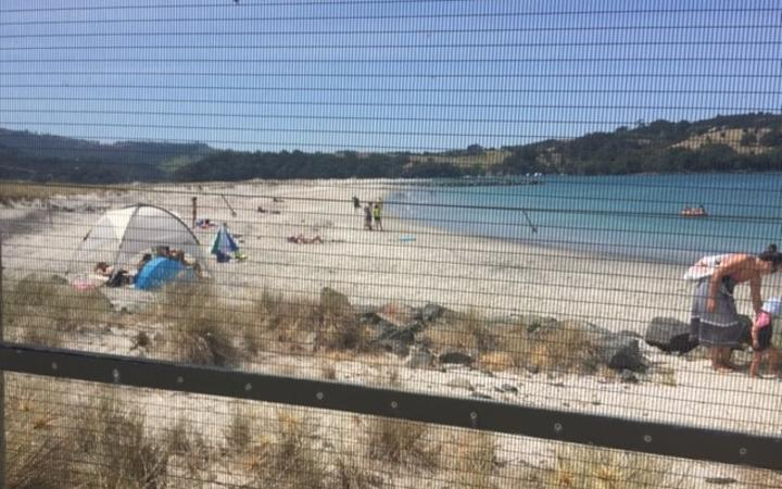 The fenced predator proofed sanctuary is being used as a private beach.
