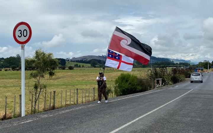 Supporters of the protesters outside Waikeria Prison