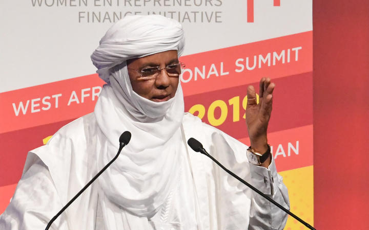 Nigerian Prime Minister Brigi Rafini speaks during the first Women Entrepreneurs Finance Initiative West Africa Regional Summit to be held on April 17, 2019 in Abidjan.