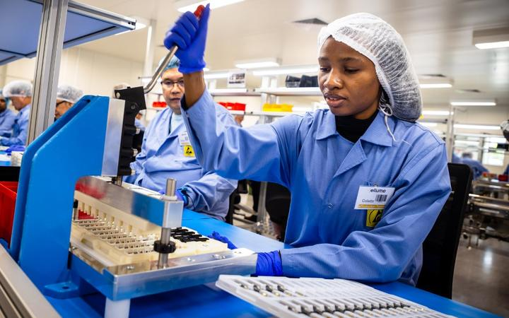 In this picture taken on December 21, 2020, employees work on the production line of a COVID-19 coronavirus home test unit  at the production facility of Australian digital diagnostics company Ellume in Brisbane.