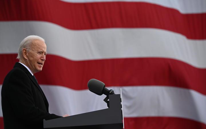 US President-Elect Joe Biden speaks in Delaware before departing for Washington, DC on 19 January.