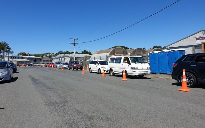Queues of cars park outside the Kamo covid testing centre in sweltering heat.