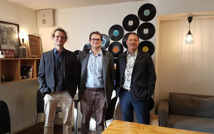 Dr Andreas Kempa-Liehr who helped develop the seismic alert system, Dr David Dempsey, and Professor Shane Cronin.