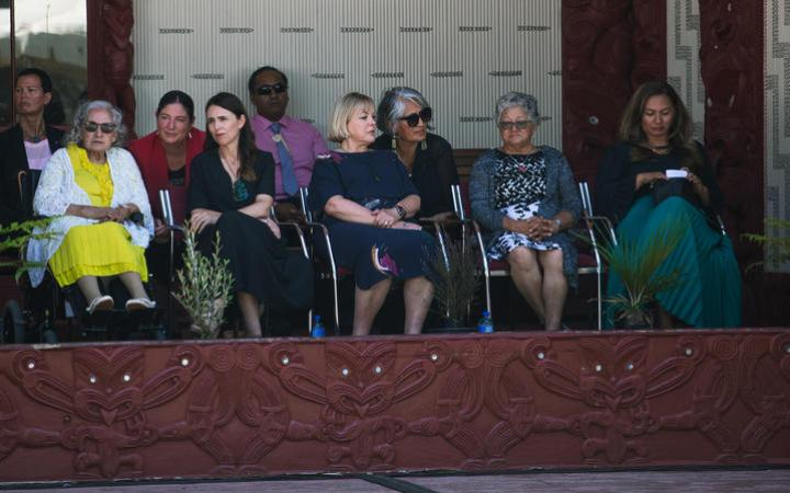 Prime Minister Jacinda Ardern, National Party leader Judith Collins and Greens co-leader Marama Davidson (on far right).