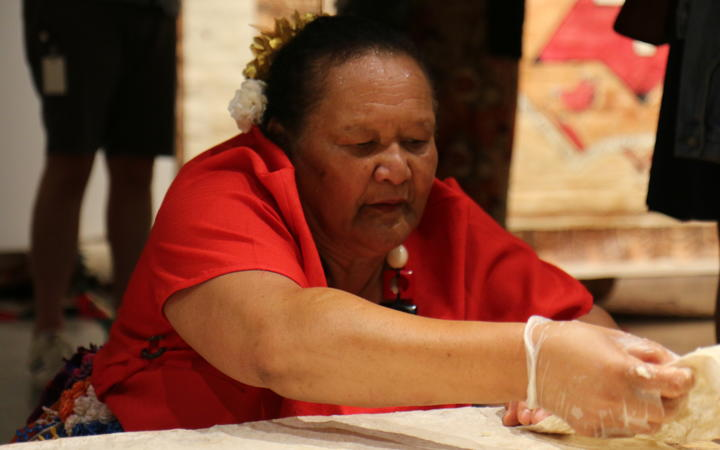 Melesiu Katoa of Tatakamotonga village in the Niua Islands says she is happy to be passing on a lifetime of ngatu making experience to younger generations of Tongans.