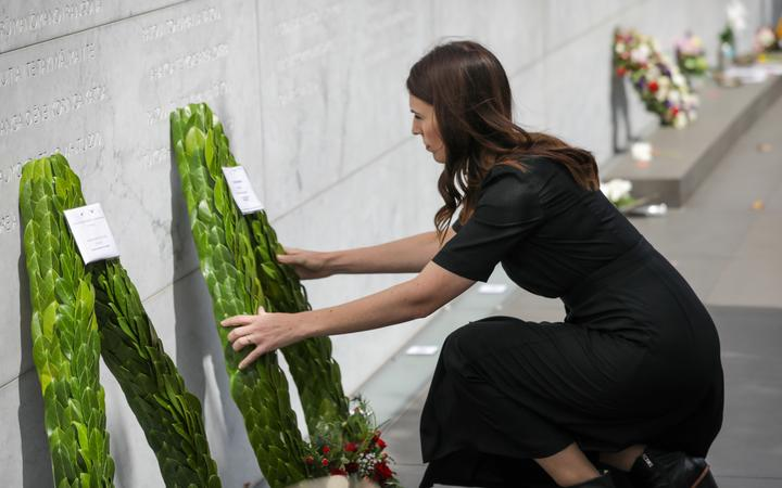 Prime Minister Jacinda Ardern lays a wreath for the victims of the Christchurch earthquake.