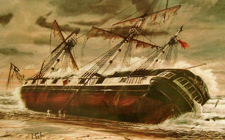 A painting of the wreck of the HMS Buffalo by G Jackson.