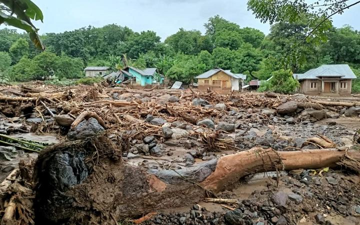 This general view shows debris left behind in the town of Adonara in East Flores on April 4, 2021, after flash floods and landslides swept eastern Indonesia and neighbouring East Timor.