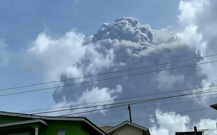 The eruption of La Soufriere Volcano from Rillan Hill in Saint Vincent.