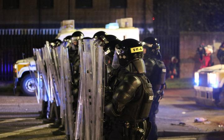 BELFAST, NORTHERN IRELAND - APRIL 09: Police take security measures and deployed water cannons as rioters hurled petrol bombs, fireworks and stones at police amid unrest since Wednesday, in Belfast, Northern Ireland on April 09, 2021.