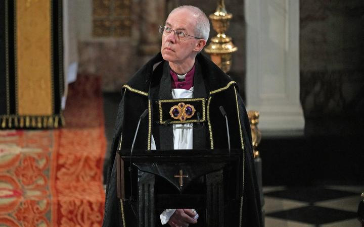 The Archbishop of Canterbury Justin Welby during the funeral service of Britain's Prince Philip, Duke of Edinburgh inside St George's Chapel in Windsor Castle in Windsor, west of London, on April 17, 2021.