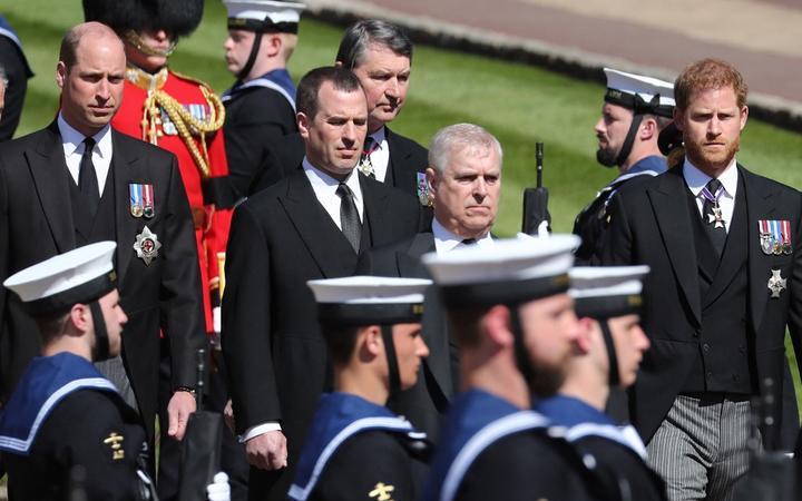Prince William, (L), Britain's Prince Andrew, Duke of York, (2R) and Britain's Prince Harry, Duke of Sussex, (R) follow the coffin