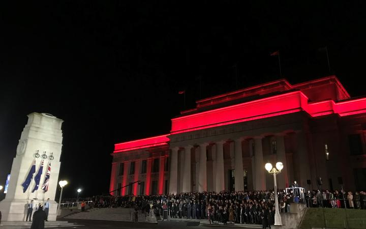 The dawn service at the Auckland War memorial Museum.