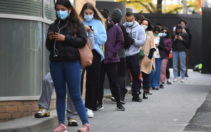 People queue for a Covid-19 test in Melbourne on May 27, 2021.