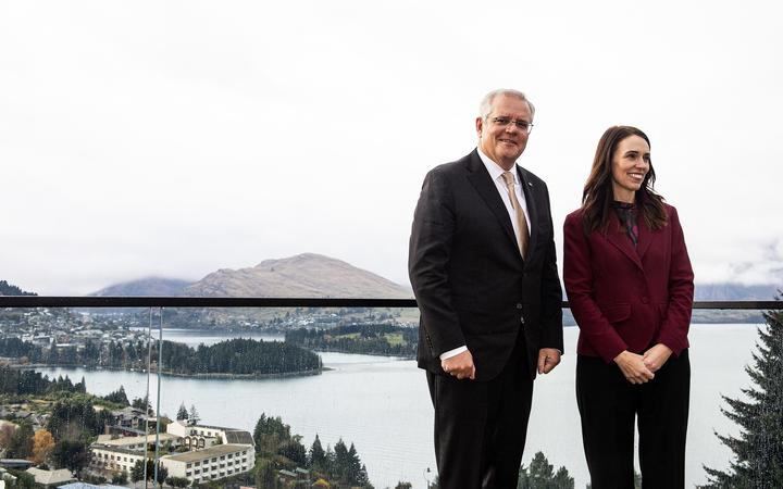 New Zealand Prime Minister Jacinda Ardern with Australia's Prime Minister Scott Morrison ahead of the Australia-New Zealand Leaders' Meeting in Queenstown on 31 May, 2021.