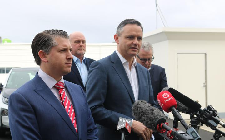 Michael Wood and James Shaw at EV policy announcement in Auckland