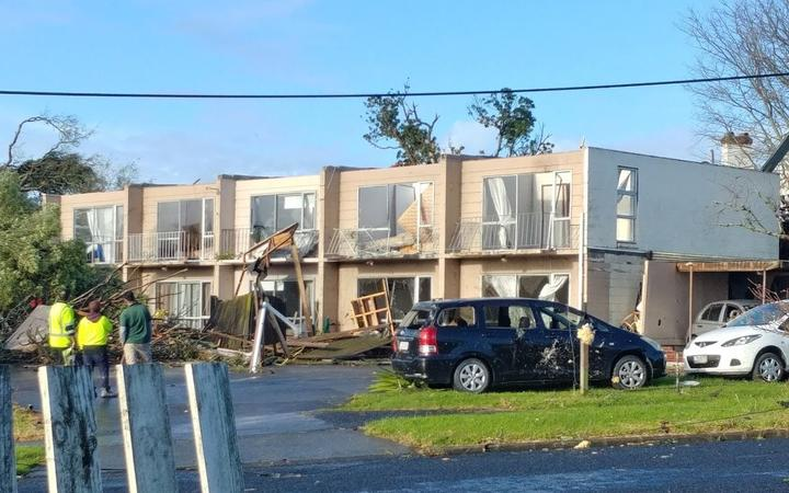Damage after a tornado in the South Auckland suburb of Papatoetoe on 19 June 2021.