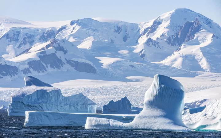 Antarctica, Southern Ocean, Antarctic Peninsula, Graham Land, Antarctic Circle Icebergs (66°33'S 66°33'W) (Photo by BRUSINI Aurélien / hemis.fr / hemis.fr / Hemis via AFP)