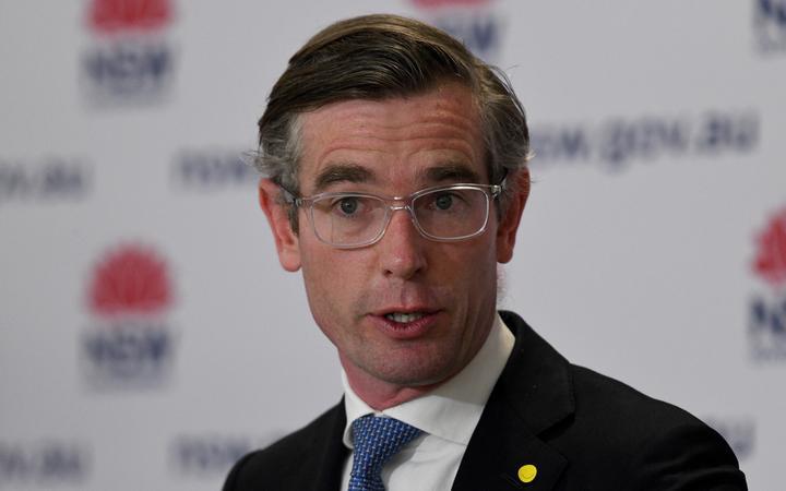 SYDNEY, AUSTRALIA - SEPTEMBER 09: NSW Treasurer Dominic Perrottet speaks to the media during a COVID-19 press conference on September 9, 2021 in Sydney, Australia.