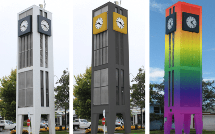 The three colour options for the Carterton clock tower.