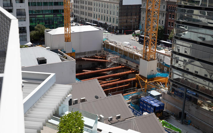 Building site of Seascape Apartments.  View from carpark ramp to the right of 88 Shortland Street.
