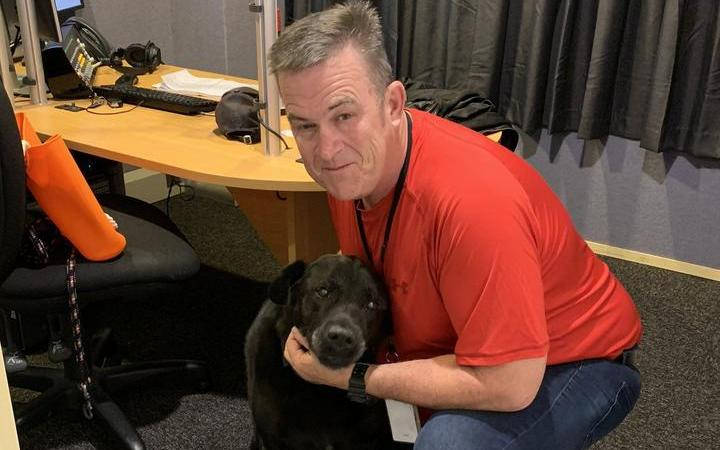 Magic Talk's Sean Plunket and his dog pax in the studio.