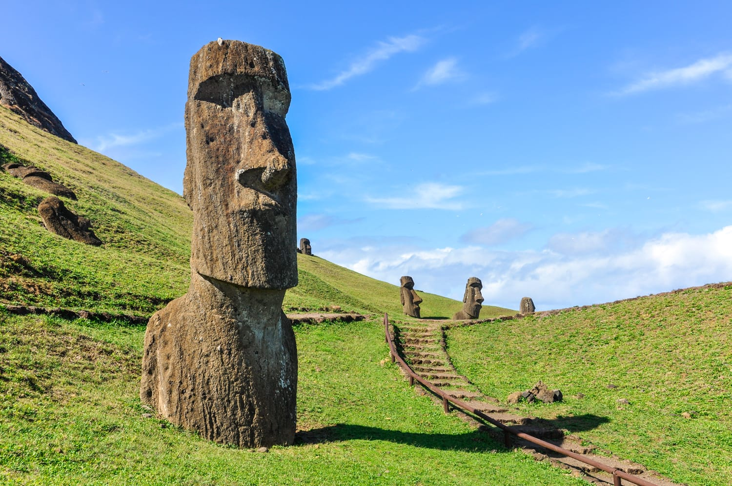 Moai statues in the Rano Raraku Volcano in Easter Island, Chile