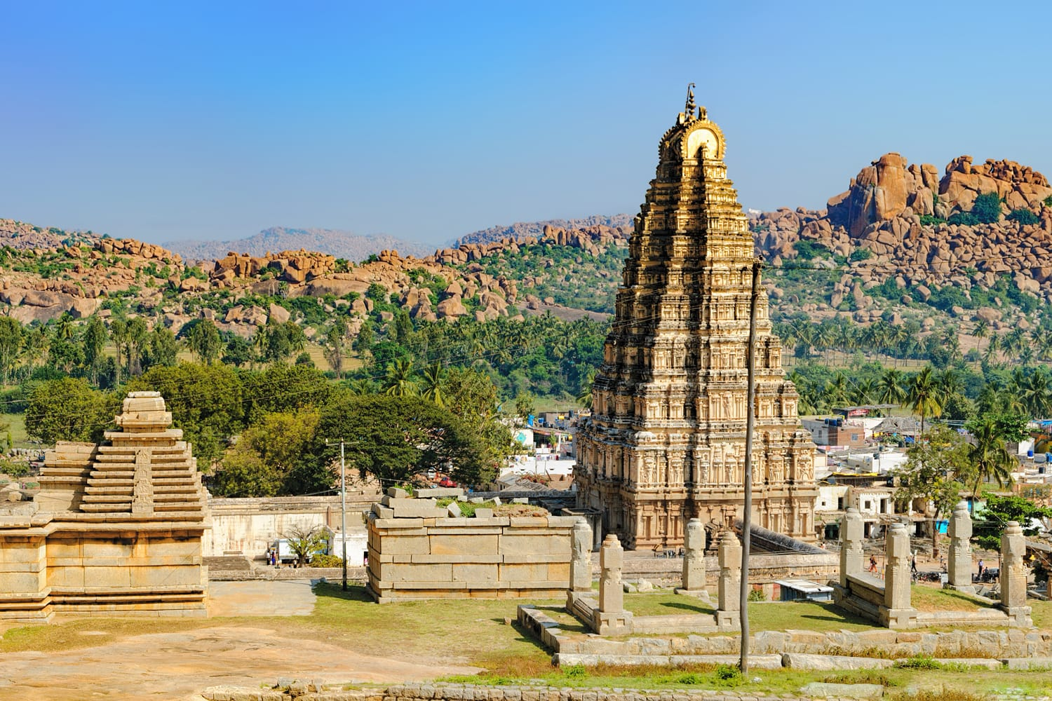 Virupaksha Temple, located in the ruins of ancient city Vijayanagar at Hampi, India