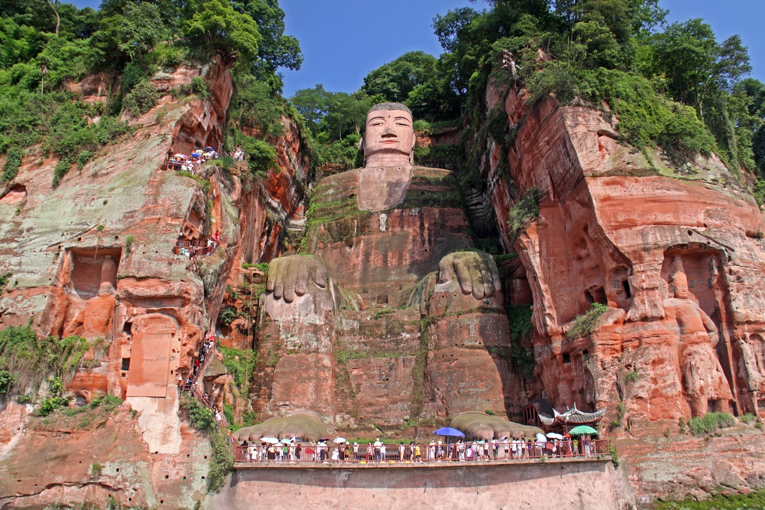 One of the world's largest budga statue in Leshan, Sichuan, China (it is carved out of mountain and 71 meter tall)