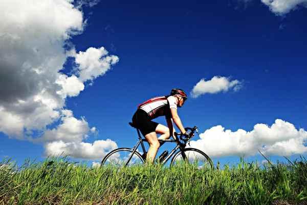 cyclist in the sun