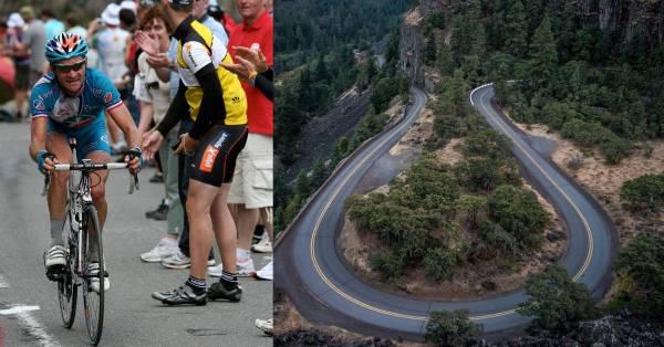 cyclist climbing long, steep mountain pass