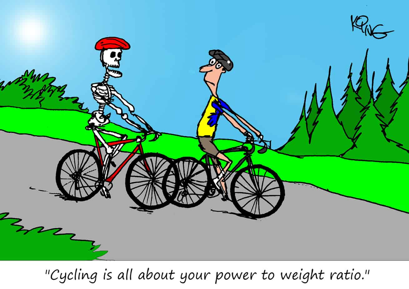 power to weight cycling cartoon
