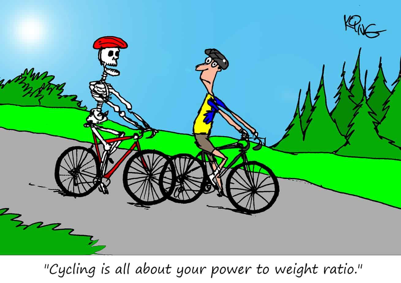 power to weight cycling cartoon