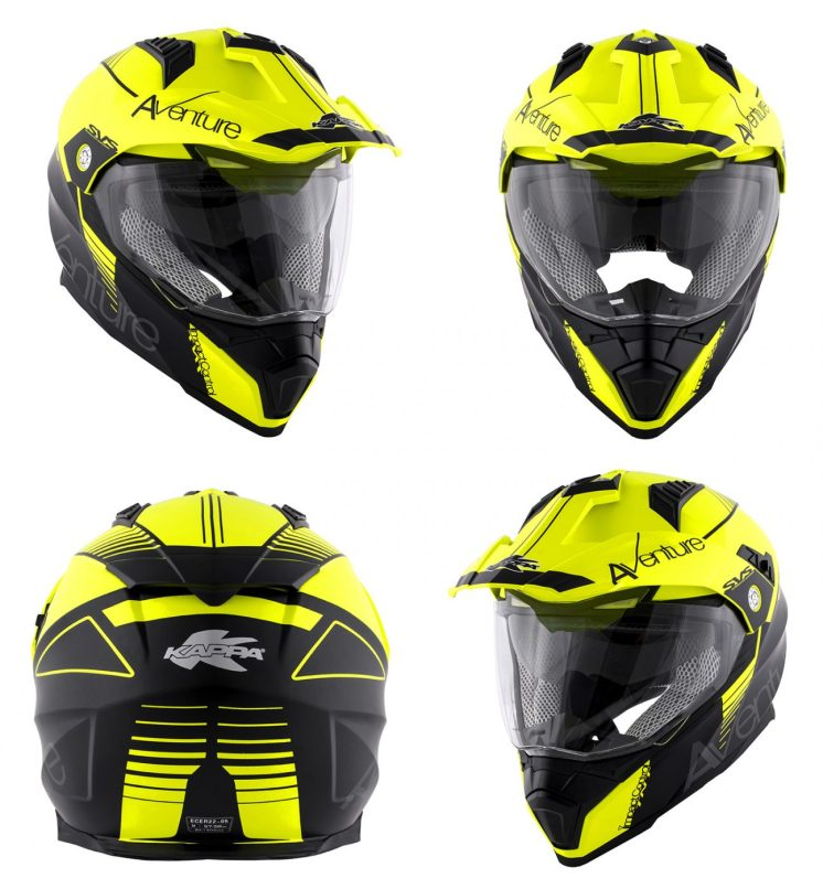 Casco KAPPA KV30 nei colori giallo neon/nero