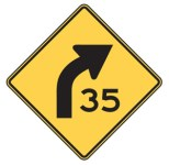 Figure 14 Advanced warning sign - Yellow advisory signs warn motorists that an upcoming corner may require a speed reduction (MUTCD, 2009).