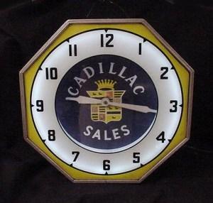 old Cadillac Sales neon clock, Vintage Advertising Neon Clocks