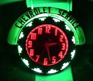 Chevrolet Aztec neon clock, Vintage Advertising Neon Clocks
