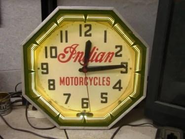 Indian Motorcycle neon Clock, Vintage Advertising Neon Clocks
