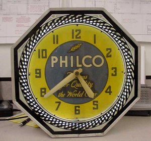 Old Philco neon clock, Vintage Advertising Neon Clocks