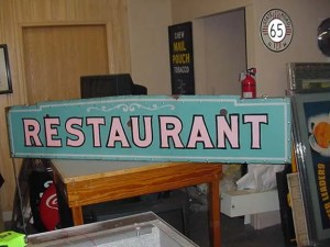 Old Restaurant porcelain neon sign, Old Unique Advertising Signs , Vintage advertising signs