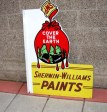 Sherwin Williams Paints porcelain flange sign, OLD SIGNS