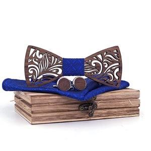 Coffret noeud papillon bois & manchette bleu