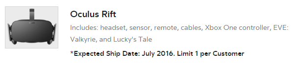 oculus rift shipping july