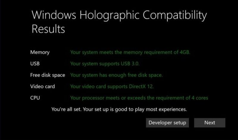Windows 10 virtual reality headset specifications specs