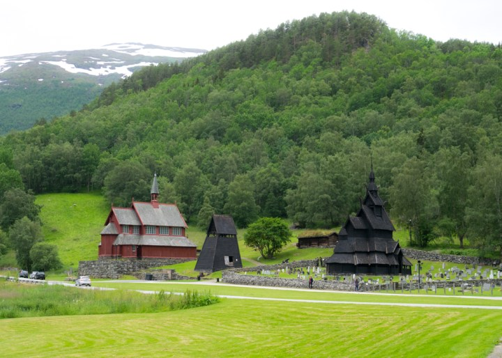 Borgund Stave Church - Norway - inc belfry and 19th century church