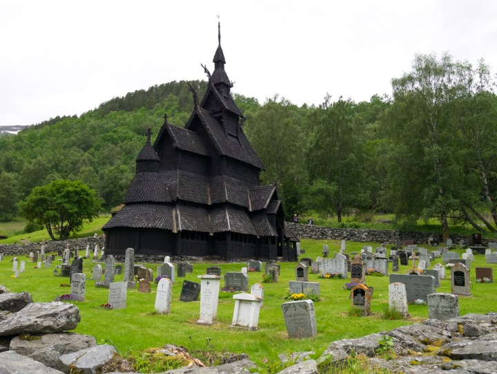 Borgund Stave Church - Norway- view with cemetery