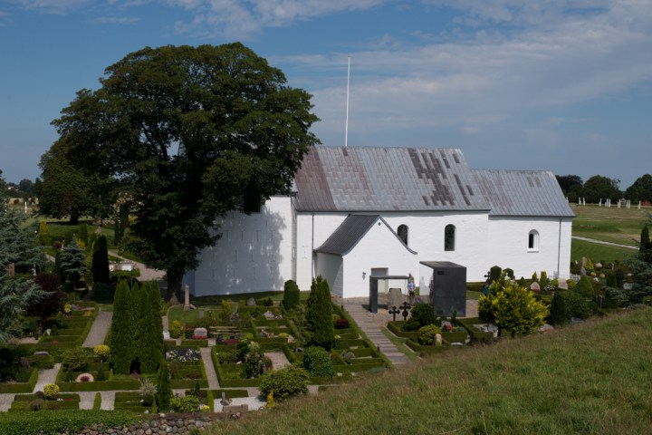 Jelling stones - Danemark - view of church from mount