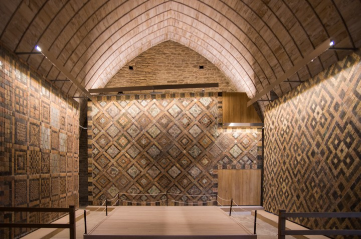 Suscinio - Brittany - France - the chapel floor made of terracotta tiles